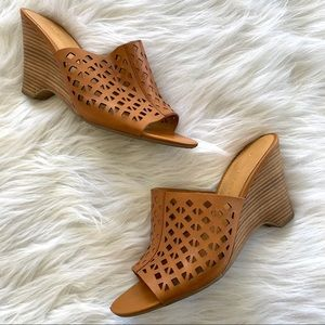 Franco Sarto Tan Leather Perforated Cork Wedges